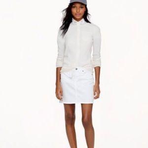 J. Crew Distressed White Denim Mini Skirt